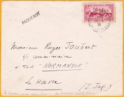 1939 - Devant D'enveloppe De Martinique Vers Le Navire Normandie Au Havre - Paquebot  - 90 C - Postmark Collection (Covers)
