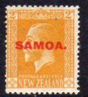 Samoa 1916-9 GV Head  Typo 2d Yellow Overprint On NZ, Hinged Mint, SG 137 - Samoa