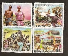 Burkina Faso 1986 N° 690 / 2 + PA 319 ** Bataille Du Rail, Chemin De Fer, Empierrage, Trains, Locomotive, Der Adler - Burkina Faso (1984-...)