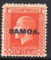 Samoa 1916-9 GV Head  Recess 1/- Vermilion Overprint On NZ, P. 14x14½, Hinged Mint, SG 142a - Samoa