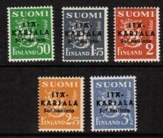 1941 Finland, Itä-Karjala (East Carelia) 1 - 5 II  Variant Pointed A **. - Finlandia