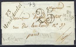 Cursive De Ménil Amellot ( Seine Et Marne ) En 1853 - Postmark Collection (Covers)