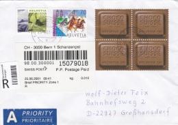 Switzerland Registered Cover Bern 1 Schanzenpst 2001 Franked W/Chocolate Stamps (G91-11) - Switzerland