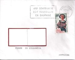 YT  1449  S/LETTRE  ROUSSILLON 3/9/65  AU TARIF AUTRICHE 1° ECH  FLAMME  4°CENTENAIRE EN DAUPHINE - Postmark Collection (Covers)
