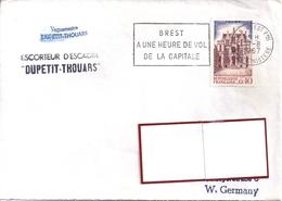 YT  1525  S/LETTRE ESCORTEUR  D'ESCADRE PETIT THOUARS 7/8/67  BRESTFLAMME A 1 HEURE DE VOL DE LA CAPITALE - Postmark Collection (Covers)
