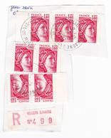 Marcophilie Villiers Sur Marne 1982 - Sabine De Gandon - Recommandé - Marcophily (detached Stamps)