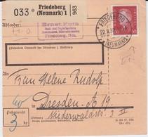 DR Weimar Mi 421 EF Paketkarte Friedeberg Ostgebiete Neumark 1932 - Allemagne
