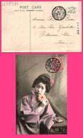 """Jolie Geisha - Rose - """" One Sen """" Chinese + TIENTSIN Poste Française + PEKING I.J.P.O. Bureau Japonais 1909 Vers LILLE - Chine"""