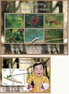 BHUTAN- 2018 - Latest Issue- DRAGONFLIES OF BHUTAN Sheetlet + Miniature Sheet MNH- Complete Set- Libellules-Libellen - Bhoutan