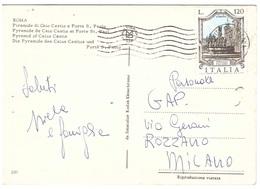£120 FONTANE CART. ROMA PIRAMIDE DI CAIO CESTIO - 6. 1946-.. Repubblica