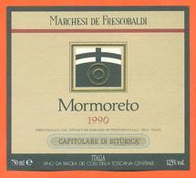 étiquette De Vin Italie - Italia Vino Mormoreto 1990 Marchesi De Frescobaldi  -75 Cl - Etiketten