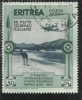 ERITREA 1934 MOSTRA ARTE COLONIALE DI NAPOLI  POSTA AEREA AIR MAIL CENT. 50c USATO USED OBLITERE' - Eritrea