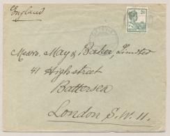 Nederlands Indië - 1921 - 20 Cent Wilhelmina Met Scheepje - Enkelfrankering Van Batavia Naar London / UK - Nederlands-Indië