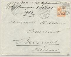 Nederlands Indië - 1923 - 20 Cent Opdruk Op 22,5 Cent Wilhelmina Met Scheepje - Enkelfrankering Van Bandoeng Naar NL - Nederlands-Indië