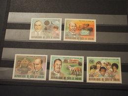 COTE D'IVOIRE - 1978 NOBEL 5 VALORI - NUOVI(++) - Costa D'Avorio (1960-...)