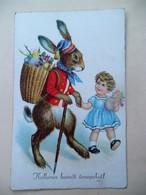 Oude       Postkaart Met Paashaas - Pâques