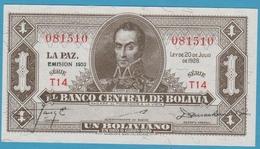 BOLIVIA 1 Boliviano L.1928 Emision 1952Série# T14  081510 P# 128c - Bolivia