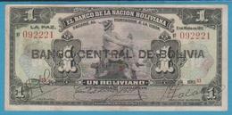 BOLIVIA 1 Bolivano 11.05.1911 (1929)Série S3  092221 P# 112 - Bolivia
