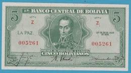 BOLIVIA 5 BolivanosL. 1928Série Z  005261 P# 129 - Bolivia