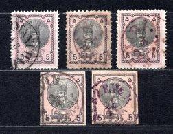 1876 IRAN 5 CH. SHAH NASER AL-DIN 5x Stamps MICHEL: 21 USED - Iran