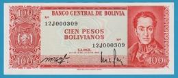 BOLIVIA 100 Pesos Bolivanos1962Série 12J000309 P# 164a - Bolivia