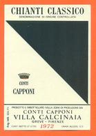 étiquette Ancienne De Vin Italie - Italia Vino Chianti Classico Conti Capponi 1972 Greve à Firenze - 72 Cl - Etiketten