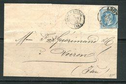 Lettre De 1869 De Gare D'Epinal 82 Pour VOIRON 37, Bureau De Passe 1307, Piquage à Cheval- Lettre Signée - Marcophilie (Lettres)