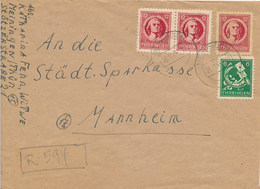 MEININGEN / Thüringen - 1945 , Fr. V. Schiller , Posthorn -  R-Brief-Provisorium Nach Mannheim - Sowjetische Zone (SBZ)