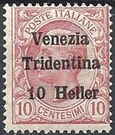 Italia, 1918 Effigie 10h Su 10c Rosa S/s Venezia Tridentina # Michel 31 - Scott N62 - Sassone 29 - NUOVO ** NH - 8. WW I Occupation