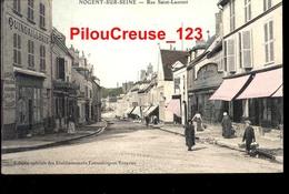 """10 - Aube - NOGENT Sur SEINE - """" Rue Saint Laurent """" - Animation - CARTE COLORISEE - RARE - Nogent-sur-Seine"""