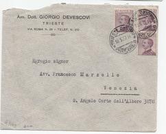 Italy, Giorgio Devescovi Company Letter Cover Travelled 1927 Trieste Pmk B180301 - 1900-44 Vittorio Emanuele III