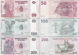 Congo DR 2007-13 - Set 50+100+200 Francs - Pick 97-99 UNC - Democratic Republic Of The Congo & Zaire
