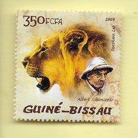 TIMBRES - STAMPS - GUINÉE-BISSAU -  GUINEA BISSAU - 2005 - PANTHERA LEON ET ALBERT SCHWEITZER - Guinea-Bissau