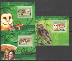 Z1569 2007 DE GUINEE FAUNA BIRDS OWLS MUSHROOMS 3 LUX BL MNH - Owls