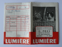 CPA9 Ancienne Pochette Publicitaire Lumière Altipan Avec Chats - Studio Lamartine G.Pras à Rennes - Photography