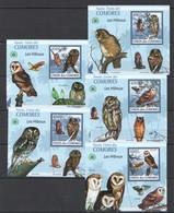 Z1575 2009 UNION DES COMORES FAUNA BIRDS OWLS LES CHOUETTES ET HIBOUX 5 LUX BL MNH - Owls