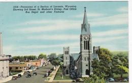 Wyoming Laramie Panorama Showing 3rd Street St Mathew's Abbey Post Office And Bus Depot - Laramie