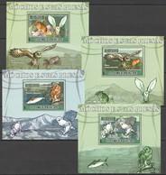Z1579 2007 S. TOME E PRINCIPE FAUNA BIRDS ANIMALS OWLS MOCHOS SUAS PRESAS 4 LUX BL MNH - Owls