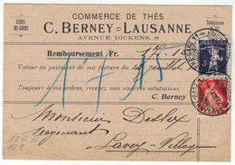 Suisse // Schweiz // Switzerland // 1907-1939 // Carte Publicitaire Et Commerciale  Au Départ De Lausanne - Suisse