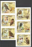 Z1582 !!! IMPERFORATE 2005 GUINE-BISSAU BIRDS OWLS MUSHROOMS MOCHOS COGUMELOS 6 LUX BL MNH - Owls