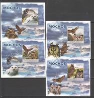 Z1583 !!! IMPERFORATE 2008 GUINE-BISSAU BIRDS OWLS MOCHOS 4 LUX BL MNH - Owls