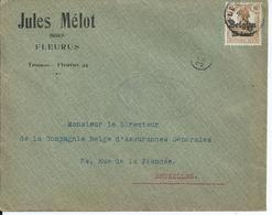 Brief Met  Bz 15 - Afstempeling FLEURUS - Oorlog 14-18