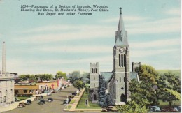 Wyoming Laramie Showing 3rd Street St Mathew's Abbey Post Office & Bus Depot 1950 - Laramie