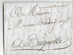 1782 - DROME - LETTRE De DIEULEFIT Avec MARQUE MANUSCRITE De MONTELIMAR => BRIGNOLES (VAR) - 1701-1800: Précurseurs XVIII