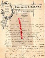 92- NEUILLY SUR SEINE-PARIS- RARE LETTRE MANUSCRITE SIGNEE PHARMACIE I. BALBAY- PHARMACIEN 8 PLACE DU CHATEAU-AV. DU ROU - 1800 – 1899