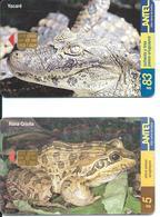 2 Télécartes Antel Uruguay Grenouille Frog Yacaré (D 464) - Uruguay