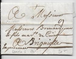 1738 - HAUTE GARONNE - LETTRE De TOULOUSE Avec MARQUE LINEAIRE => BRIGNOLES (VAR) - 1701-1800: Précurseurs XVIII