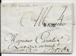 1758 - LANDES - LETTRE De DAX Avec MARQUE LINEAIRE => BORDEAUX - 1701-1800: Précurseurs XVIII