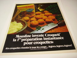 ANCIENNE PUBLICITE CROQUETT DE  MOUSLINE 1970 - Posters