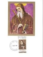 Vatican-Poste Vaticane -Carte Maximum-1965 Mi. 481 MC Maximum Card, Saint Benedict Of Nursia, Painting By Il Perugino - Maximum Cards